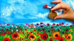 EASY Poppies NO BRUSHES ACRYLIC Painting Sponge And Cotton Swabs BEGI...