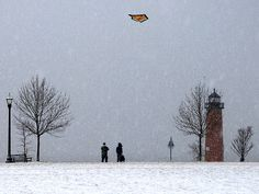 Remembering these days back there. Winter kite flying in the snow....Kenosha, Wi.