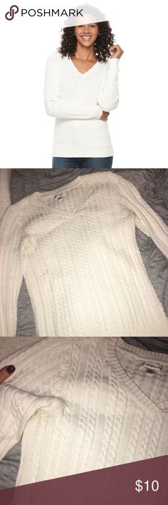 White Croft & Barrow Vneck Sweater NWOT : never been worn & so cute!!! Selling because I'm in college and very broke :) need to clear out my closet! croft & barrow Sweaters V-Necks