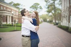 Natural laughter posing | Engagement session | Blue, white, khaki outfit
