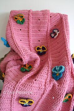 Crochet patterns Baby blanket crochet pattern pansy by  Luz Patterns #babycrochet #crochetblanket