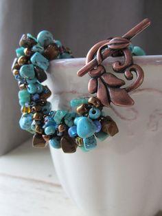 Turquoise & Copper Crochet Bracelet Beaded Bracelet