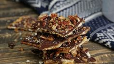 Recipe with video instructions: Nutty toffee and chocolate-covered matzo is a ridiculously yummy sweet snack. Ingredients: 5 pieces of matzo, 1 cup butter, 1 cup brown sugar, ¼ cup water, 1 bag of dark chocolate chips, 1 cup of chopped nuts, Coarse salt, such as Maldon or fleur de sel for the top