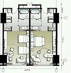Bedroom hotel plan 23 New Ideas Hotel Bedroom Design, Design Hotel, Resort Plan, Hotel Floor Plan, Interior Design Layout, Architectural Floor Plans, Hotel Concept, Hotel Architecture, Apartment Layout