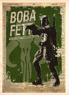Star Wars Boba Fett, Vintage Silhouette print, Retro Star Wars Art, Dictionary print art
