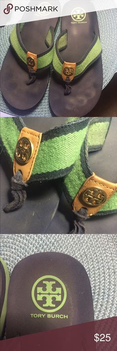 Tory Burch Navy Blue/Kelly Green Sandals SZ7 Tory Burch Navy Blue/Kelly Green Sandals SZ7 Tory Burch Shoes Sandals