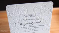 Carlton wedding invitation from Parklife Press