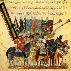 Procession de la cavalerie Abbasside lors de la fin du Ramadan peint par Yahya ibn Mahmud al-Wâsitî' est un peintre et un calligraphe arabe du XIIIe siècle, actif à Bagdad. Il a notamment illustré un manuscrit des Maqamat de al-Hariri en 1237 tiré du kitab al maqamat d'Abu Muhammad al-Qasim ibn Ali al-Hariri, dit aussi al-Hariri de Basra, né en 1054 et décédé en 1122 à Bassora, en Irak, était un savant et écrivain arabe