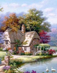 Say something for this painting? Cute Cottage, Cottage Art, Beautiful Paintings, Beautiful Landscapes, Pretty Pictures, Art Pictures, Landscape Art, Landscape Paintings, Thomas Kinkade Art