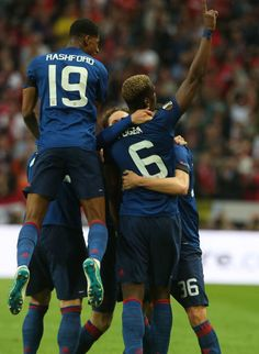 Paul Pogba of Manchester United celebrates scoring their first goal during the UEFA Europa League Final match between Manchester United and Ajax at...
