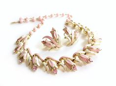 Vintage Coro Pink Enamel Flower Rhinestone Necklace and Earrings Set, Floral Necklace, Tulip Tulips, Light Pink, Demi Parure