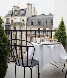 Breakfast on the balcony. Paris is always a good idea.
