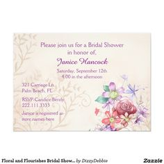 Floral and Flourishes Bridal Shower Invitation