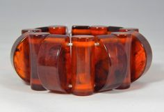 Vintage Art Deco Honey Amber Bakelite Geometric Bead Stretch Bracelet chunky 75g