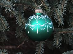 Painted Lace Green Glass Christmas Ornament