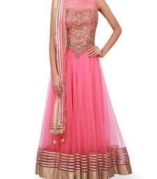 Buy pink embroidered art silk semi stitched salwar party-wear-salwar-kameez online