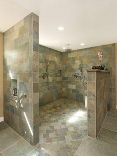 25 Amazing Walk In Shower Design Ideas - tropical-bathroom-walk-in-shower - Small Bathroom With Shower, Master Bathroom Shower, Bathroom Ideas, Bathroom Showers, Shower Ideas, Bathroom Designs, Huge Shower, Shower Mirror, Bathroom Updates