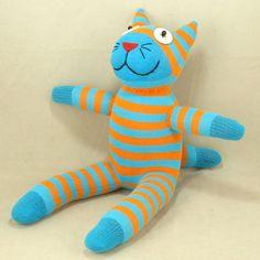 Ücretsiz Kargo El yapımı Çorap Kedi Kitty Dolması Hayvan Doll Bebek Oyuncakları Hediye