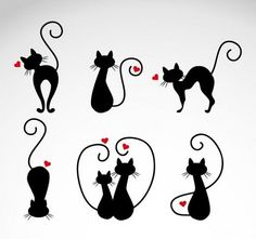 Cats in Love Vector Illustrations - Cricut - Gatos Kitty Tattoos, Tatoos, Cat Icon, Cat Drawing, Cat Love, Crazy Cats, Rock Art, Silhouettes, Vector Free