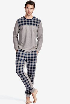 Men s Long-Sleeve Checked Pyjamas for sale on Official Intimissimi online  shop. c266b490f