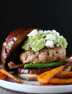 Guacamole Bacon Turkey Burgers with Roasted Poblano Peppers via Roasted Root