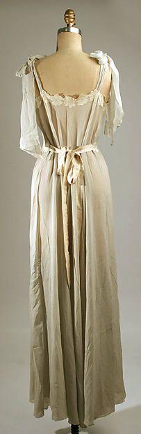 Nightgown Date: 1930s Culture: American or European Medium: silk. Back