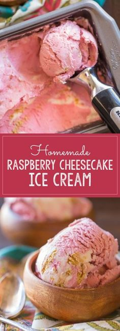 Homemade Raspberry Cheesecake Ice Cream - Made with finely crushed freeze dried raspberries, this super creamy ice cream has a beautiful natural pink color and true raspberry flavor.