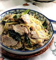 Traditional Chinese Cantonese Confinement Food Recipe - Basil Meat With Ginger & Wine