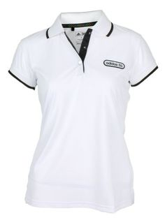Adidas Taylormade Womens Front Pocket Solid Polo Shirt with Patch Medium 4  WhiteBlack      ad9249650d4