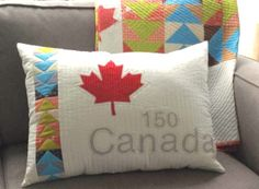 Awesome Canada 150 pillow and quilt pattern. A Lorna Costantini Original. Kit or pattern can be ordered from the Modern Bee Quilting store Quilting Projects, Quilting Designs, Sewing Projects, Quilting Ideas, Sewing Ideas, Canadian Quilts, Quilts Canada, Canada 150, Happy July