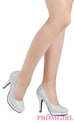 High Heel Silver Closed Toe Pump at PromGirl.com