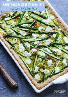 This low carb and gluten free asparagus tart is loaded with leeks, pancetta and tangy goat cheese!