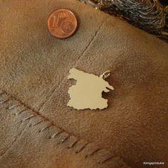 MALLORCA Landkarte Anhänger in 585er Gelbgold - Handarbeit - Balearische Insel -