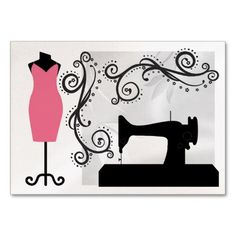 Shop Pearl Version - Fashion / Seamstress Card - SRF created by sharonrhea. Sewing Machine Drawing, Sewing Clipart, Machine Image, Fashion Business Cards, Visiting Card Design, Art Costume, Simple Illustration, Sewing Art, Rock Crafts
