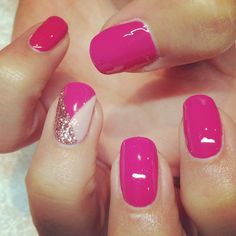 Calgel nail art hot pink x