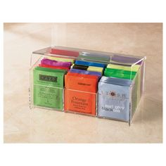 Shop Acrylic Tea Box at CHEFS. how cute -- acrylic box for tea bags; must find/replicate