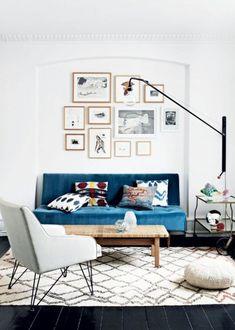 Teal sofa in a styli