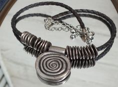 Swirl Pendant on 16-Inch Choker Leather Cord Necklace. Pretty Vintage Southwestern Primitive Style Ladies Jewelry Free Gift Box by GiftShopVintage on Etsy
