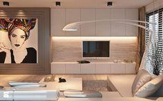 Salon z dużym obrazem - zdjęcie od Ludwinowska Studio Architektury