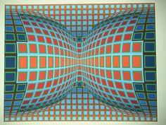 Optic art , kinetic art vasarely /composition double bleu et rouge
