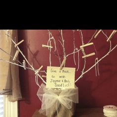 Make a gift money tree wedding pinterest money trees gift i created a money tree from things i had around the house this will be the centerpiece for a his and her gift card shower negle Choice Image