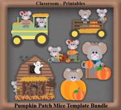 Clipart Templates for Scrapbooking.    Pumpkin Patch Mice Clipart Template Bundle. For Digital Scrapbooking, Clipart, Creating Cards & Printables.    Comes PSD Format  For Use in Photoshop and Graphics Programs