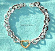 dbdfffe10 </b> IMPRESSIVE VINTAGE Tiffany & Co Sterling/18K Gold Heart Link Bracelet  7.5