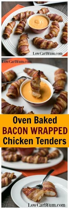 These oven baked bacon wrapped chicken tenders are always a hit as a low carb appetizer, a low carb snack or as a main dish. | LowCarbYum.com via @lowcarbyum