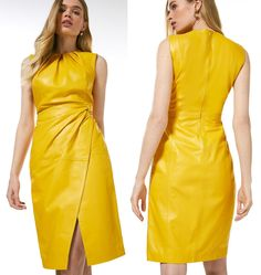 Outfit inspiration with Pantone colour of the Year Illuminating Yellow. How to wear Illuminating Yellow. Yellow Dresses 2021. Fashion with Pantone Color of the Year Illuminating Yellow 2021. Karen Millen Leather Dress 2021. How to wear Pantone Color of the Year 2021 Illuminating Yellow. Yellow Fashion ideas 2021. Karen Millen Dresses 2021. Spring Summer Fashion 2021. Fitted Leather Dress 2021. How to wear Yellow 2021. Yellow Outfit inspiration 2021. Colour Blocking Fashion, Yellow Clothes, Formal Wear Women, Yellow Fashion, Yellow Leather, Karen Millen, Yellow Dress, Spring Summer Fashion, What To Wear