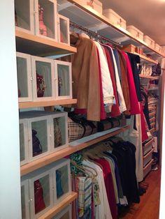 Purse storage idea...use sweater boxes to display them! #storage #pursestorage #closet