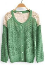 Green Contrast Lace Long Sleeve Hollow Cardigan Sweater $33.44