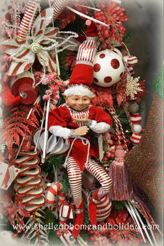 Christmas Elf 24 inch Peppermint - Shelley B Home and Holiday