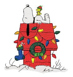 Photo of Snoopy and Woodstock Christmas Doghouse Machine Embroidery Design in 4 Sizes