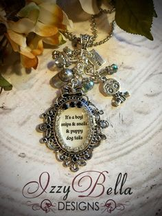 It's A Boy Vintage Inspired Storytelling Charm Necklace #1000